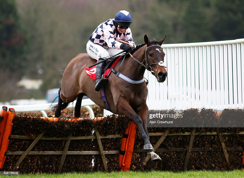 David Bass riding Akavit clear the last to win The Betfred 'Home Of Goals Galore' Juvenile Hurdle Race at Sandown racecourse on February 06, 2016 in Esher, England.