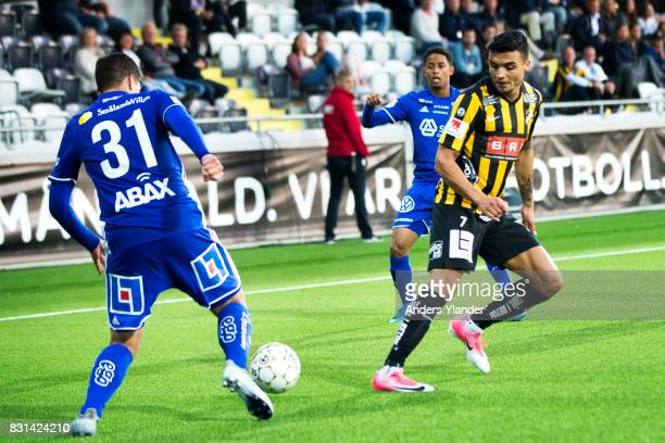 David Batanero of GIF Sundsvall fight for the ball with Ahmad Yasin of BK Hacken during the Allsvenskan match between BK Hacken and GIF Sundsvall at...