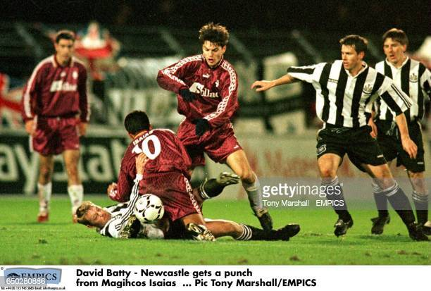 David Batty Newcastle gets a punch from Magihcos Isaias