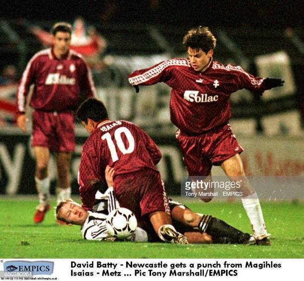 David Batty Newcastle gets a punch from Magihles Isaias Metz