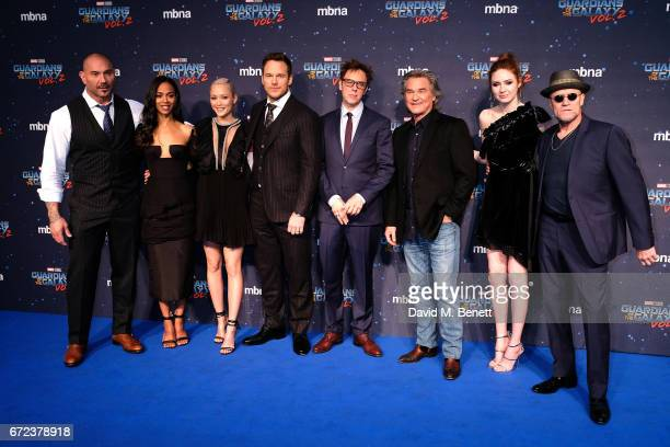 David Bautista Zoe Saldana Pom Klementieff Chris Pratt James Gunn Kurt Russell Karen Gillan and Michael Rooker attend the European Gala screening of...