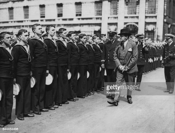 David Beatty 1st Earl Beatty inspects a Guard of Honour of sailor boys at the Royal Naval College London 12th May 1933