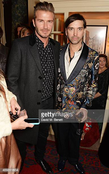 David Beckham and Alister Mackie attend a party which they hosted together to celebrate Another Man Magazine at Mark's Club on November 20 2014 in...