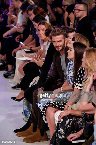 David Beckham and Anna Wintour attend the Victoria Beckham Women's Fashion Show during New York Fashion Week on on September 11 2016 in New York City