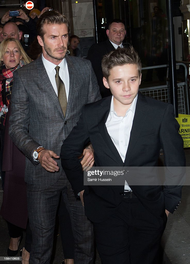 <a gi-track='captionPersonalityLinkClicked' href=/galleries/search?phrase=David+Beckham&family=editorial&specificpeople=158480 ng-click='$event.stopPropagation()'>David Beckham</a> and <a gi-track='captionPersonalityLinkClicked' href=/galleries/search?phrase=Brooklyn+Beckham&family=editorial&specificpeople=214623 ng-click='$event.stopPropagation()'>Brooklyn Beckham</a> attend the press night of 'Viva Forever', a musical based on the music of The Spice Girls at Piccadilly Theatre on December 11, 2012 in London, England.