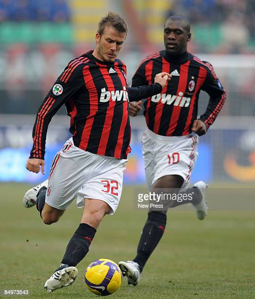 David Beckham and Clarence Seedorf of AC Milan in action during the Serie A match between Milan and Cagliari at the Stadio Meazza on February 22 2009...