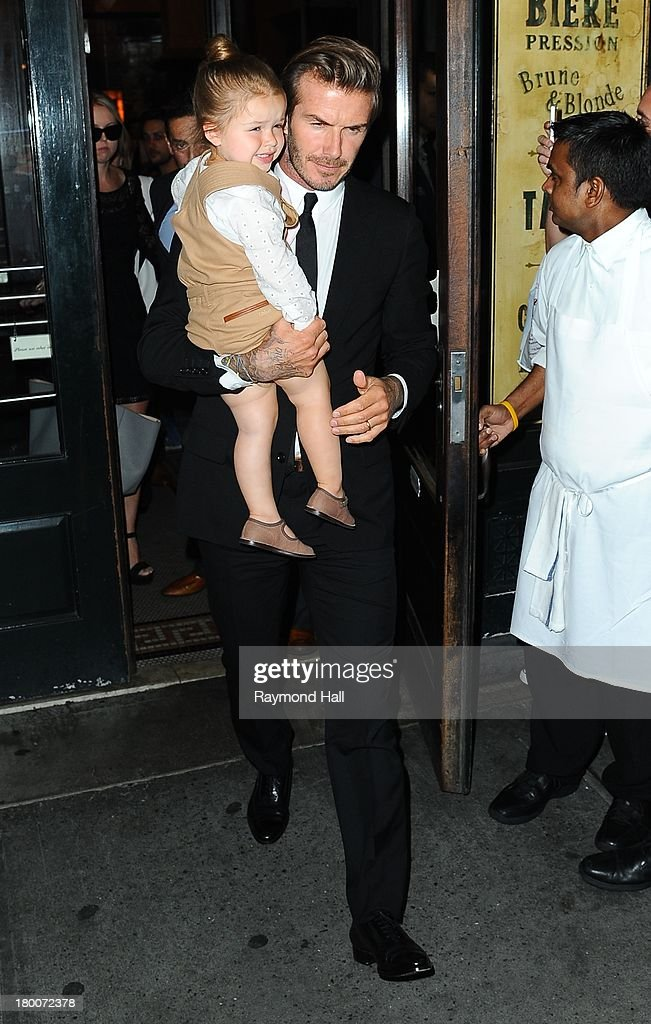 <a gi-track='captionPersonalityLinkClicked' href=/galleries/search?phrase=David+Beckham&family=editorial&specificpeople=158480 ng-click='$event.stopPropagation()'>David Beckham</a> and daughter Harper are seen in Soho on September 7, 2013 in New York City.