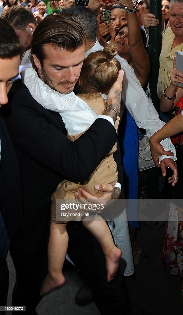 <a gi-track='captionPersonalityLinkClicked' href=/galleries/search?phrase=David+Beckham&family=editorial&specificpeople=158480 ng-click='$event.stopPropagation()'>David Beckham</a> and daughter <a gi-track='captionPersonalityLinkClicked' href=/galleries/search?phrase=Harper+Beckham&family=editorial&specificpeople=8262359 ng-click='$event.stopPropagation()'>Harper Beckham</a> are seen in Soho on September 8, 2013 in New York City.