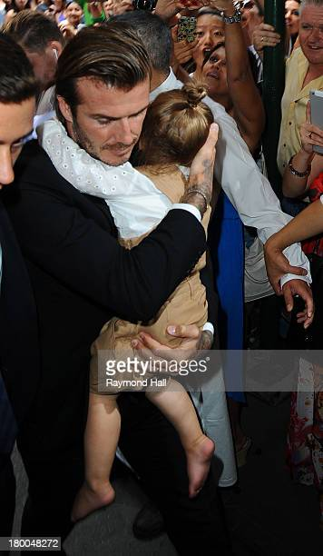 David Beckham and daughter Harper Beckham are seen in Soho on September 8 2013 in New York City