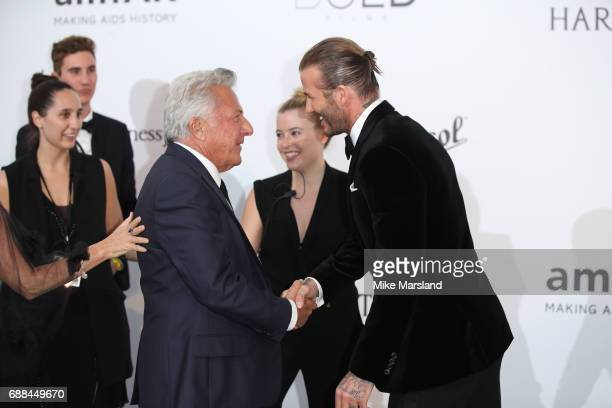 David Beckham and Dustin Hoffman arrives at the amfAR Gala Cannes 2017 at Hotel du CapEdenRoc on May 25 2017 in Cap d'Antibes France
