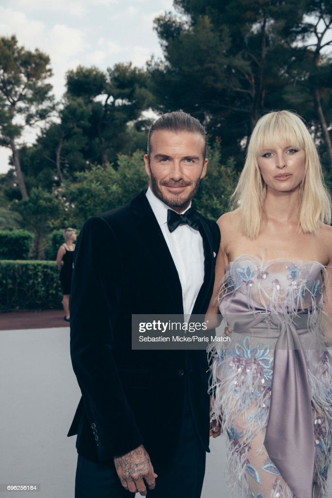 David Beckham and fashion model Karolina Kurkova is photographed for Paris Match whilst attending the Amfar Gala at the Eden Roc Hotel on May 25, 2017 in Antibes, France.