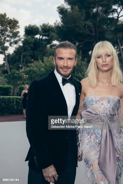 David Beckham and fashion model Karolina Kurkova is photographed for Paris Match whilst attending the Amfar Gala at the Eden Roc Hotel on May 25 2017...