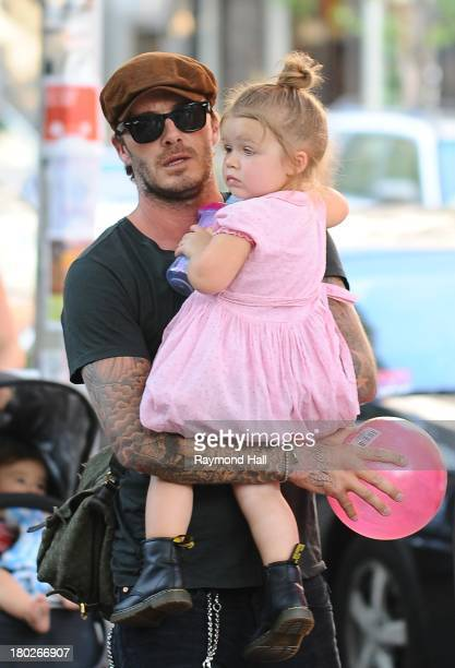 David Beckham and Harper Beckham are seen in Soho on September 10 2013 in New York City