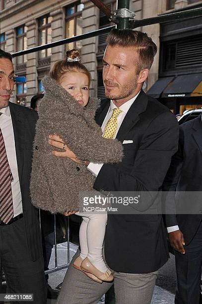 David Beckham and Harper Beckham are seen on February 9 2014 in New York City