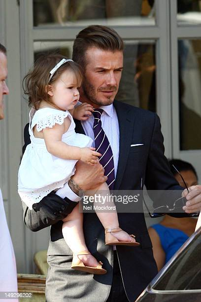David Beckham and Harper Beckham seen at 202 Restaurant in Notting Hill on July 26 2012 in London England