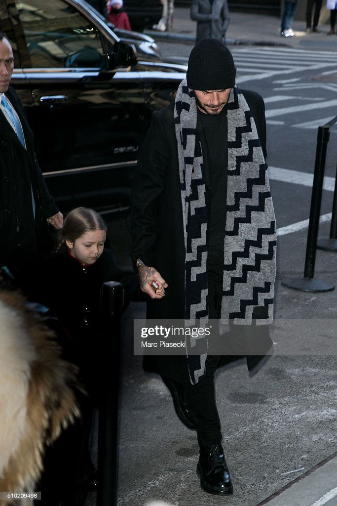<a gi-track='captionPersonalityLinkClicked' href=/galleries/search?phrase=David+Beckham&family=editorial&specificpeople=158480 ng-click='$event.stopPropagation()'>David Beckham</a> and Harper Seven Beckham arrive at the 'Balthazar' restaurant on February 14, 2016 in New York City.