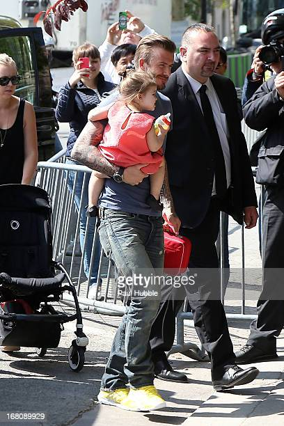 David Beckham and his daughter Harper Seven are seen arriving at the Eiffel tower on May 5 2013 in Paris France