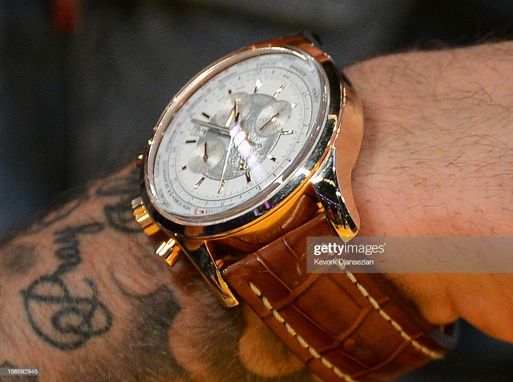 David Beckham and his watch during the Los Angeles Lakers and Phoenix Suns NBA basketball game at Staples Center on November 16, 2012 in Los Angeles, California.
