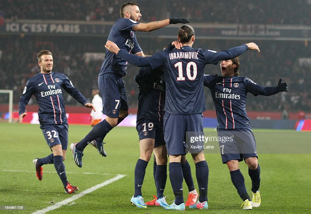 <a gi-track='captionPersonalityLinkClicked' href=/galleries/search?phrase=David+Beckham&family=editorial&specificpeople=158480 ng-click='$event.stopPropagation()'>David Beckham</a> and Jeremy Menez of Paris Saint-Germain celebrate a goal with teamate during the French League 1 between Paris Saint-Germain FC and Montpellier Herault SC, at Parc des Princes on March 29, 2013 in Paris, France.