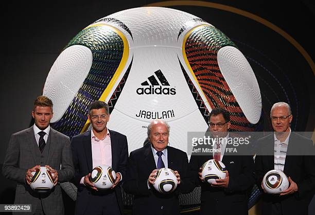 David Beckham and Joseph S Blatter at the official hand over of the 210 FIFA World Cup match ball at the Waterfront studios on December 4 2009 in...