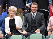 David Beckham and mother Sandra attend day six of the Wimbledon Tennis Championships at Wimbledon on July 02 2016 in London England