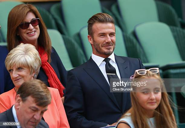 David Beckham and Mother Sandra Georgina West attend day ten of the Wimbledon Lawn Tennis Championships at the All England Lawn Tennis and Croquet...