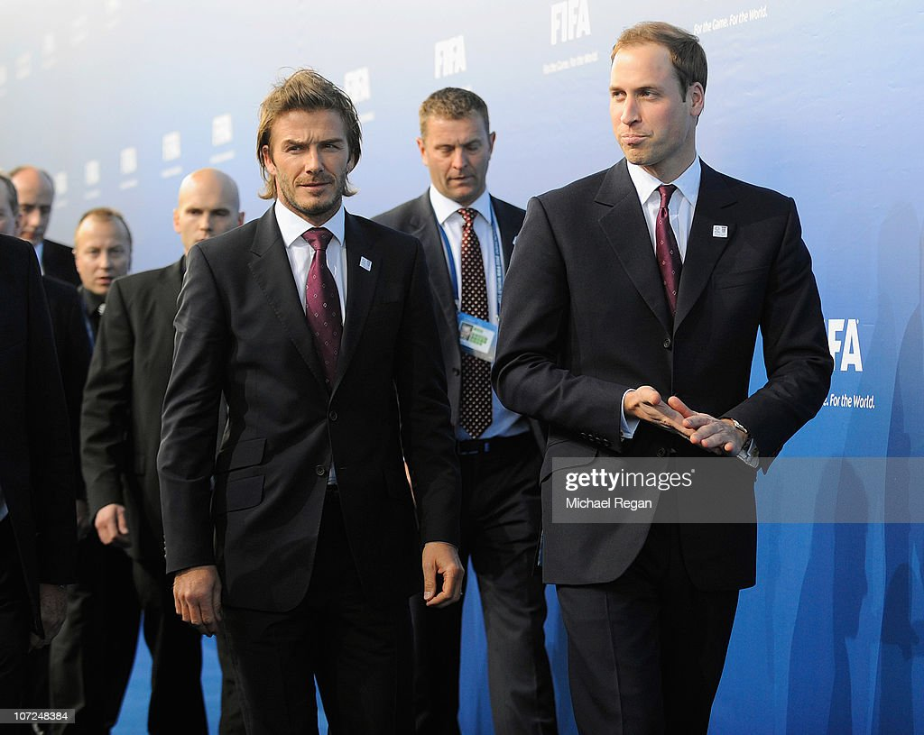 David Beckham and Prince William of the England 2018 bid arrive during the FIFA World Cup 2018 2022 Host Announcement on December 2 2010 in Zurich...