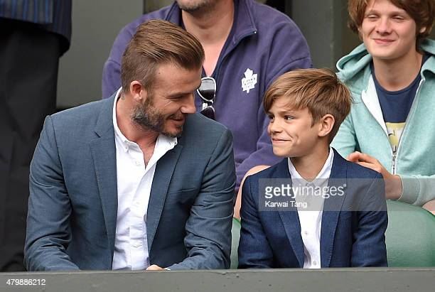 David Beckham and Romeo Beckham attend day nine of the Wimbledon Tennis Championships at Wimbledon on July 8 2015 in London England