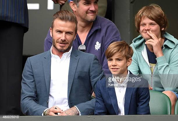 David Beckham and Romeo Beckham attend day nine of the Wimbledon Tennis Championships at Wimbledon on July 8 2015 in London England