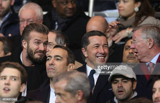 David Beckham and Sir Alex Ferguson attend the UEFA Champions League Round of 16 between Paris SaintGermain and Chelsea at Parc Des Princes on...