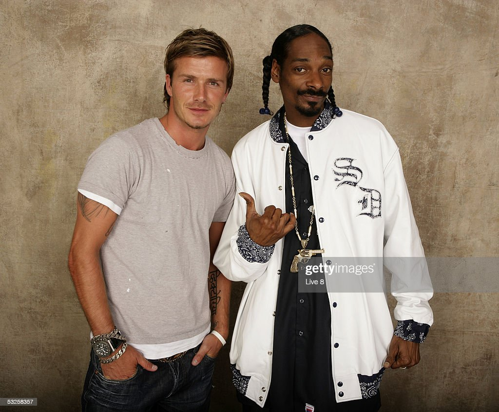 <a gi-track='captionPersonalityLinkClicked' href=/galleries/search?phrase=David+Beckham&family=editorial&specificpeople=158480 ng-click='$event.stopPropagation()'>David Beckham</a> and Snoop Dogg pose for a studio portrait backstage at 'Live 8 London' in Hyde Park on July 2, 2005 in London, England. The free concert is one of ten simultaneous international gigs including Philadelphia, Berlin, Rome, Paris, Barrie, Tokyo, Cornwall, Moscow and Johannesburg. The concerts precede the G8 summit (July 6-8) to raising awareness for MAKEpovertyHISTORY.