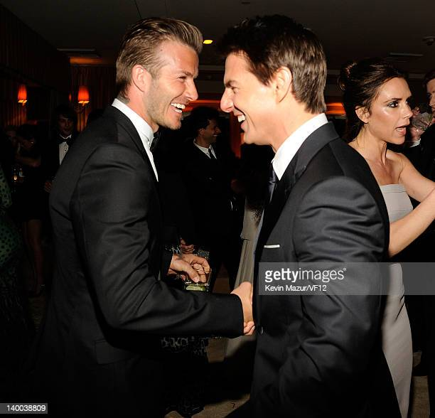 David Beckham and Tom Cruise attend the 2012 Vanity Fair Oscar Party Hosted By Graydon Carter at Sunset Tower on February 26 2012 in West Hollywood...