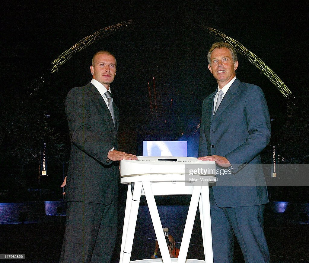 David Beckham and Tony Blair PM during Wembley Stadium Celebrates Topping of the New Arches at Wembley Stadium in London, Great Britain.