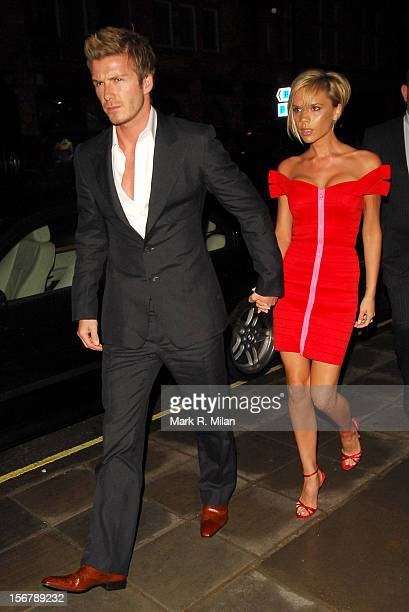 David Beckham and Victoria Beckham are seen on March 24 2007 in London England