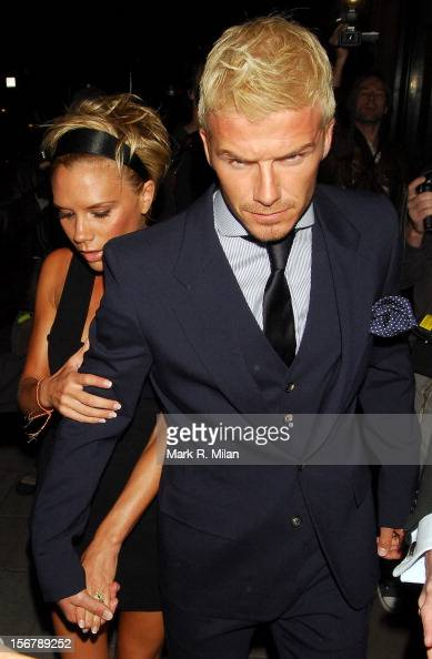 David Beckham and Victoria Beckham are seen on May 25 2007 in London England
