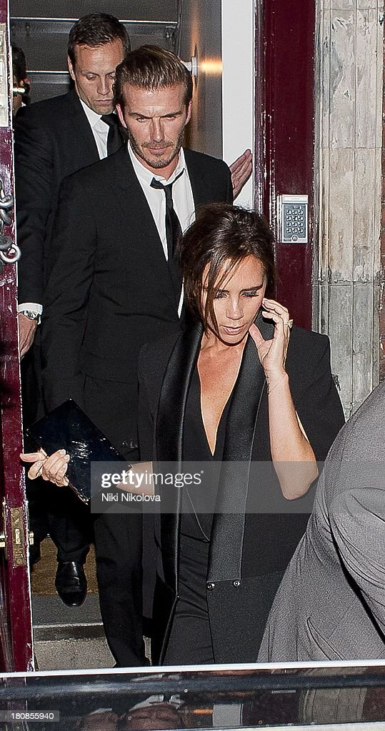 David Beckham and Victoria Beckham are sighted leaving lulu Restaurant, Mayfair on September 16, 2013 in London, England.