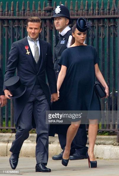 David Beckham and Victoria Beckham arrive at Westminster Abbey on April 29 2011 in London EnglandThe marriage of Prince William the second in line to...