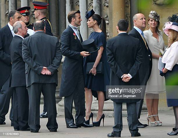 David Beckham and Victoria Beckham arrive to attend the Royal Wedding of Prince William to Catherine Middleton at Westminster Abbey on April 29 2011...
