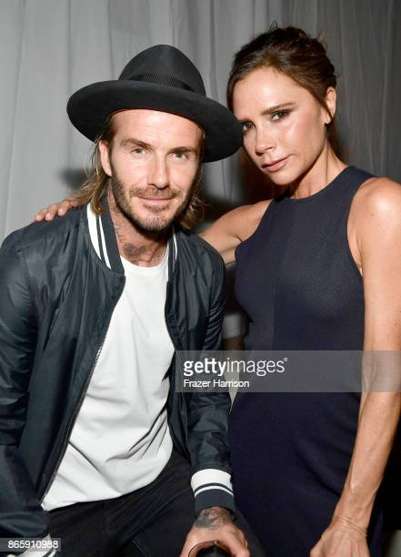 David Beckham and Victoria Beckham at the grand opening of the new Ken Paves Salon hosted by Eva Longoria on October 23 2017 in Los Angeles California