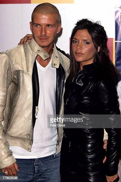 David Beckham and Victoria Beckham at Virgin Megastore in London August 1 2000