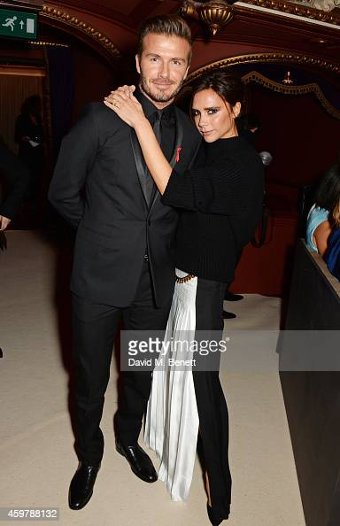 David Beckham and Victoria Beckham attend a drinks reception at the British Fashion Awards at the London Coliseum on December 1 2014 in London England