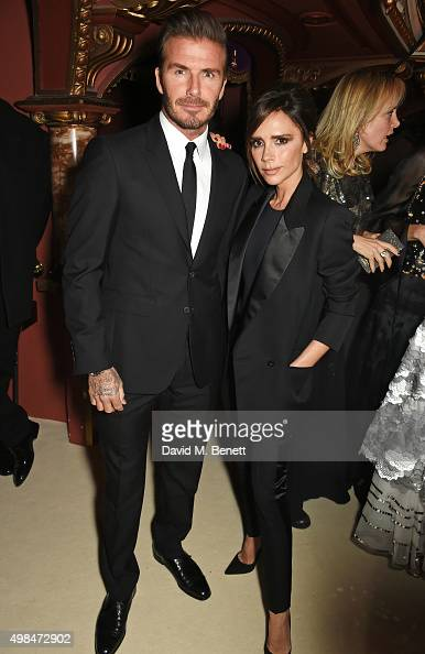 David Beckham and Victoria Beckham attend a drinks reception at the British Fashion Awards in partnership with Swarovski at the London Coliseum on...