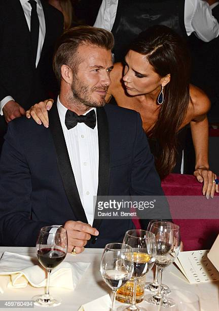 David Beckham and Victoria Beckham attend an after party following the 60th London Evening Standard Theatre Awards at the London Palladium on...