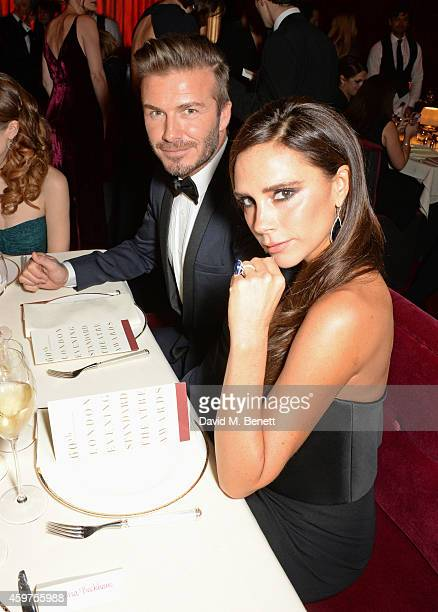 David Beckham and Victoria Beckham attend the 60th London Evening Standard Theatre Awards at the London Palladium on November 30 2014 in London...