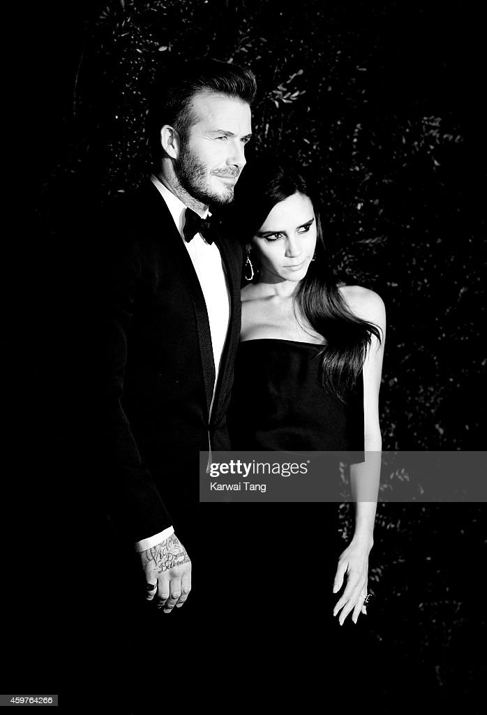 David Beckham and Victoria Beckham attend the 60th London Evening Standard Theatre Awards at London Palladium on November 30, 2014 in London, England.
