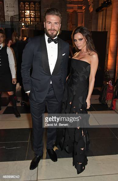 David Beckham and Victoria Beckham attend the Alexander McQueen Savage Beauty Fashion Gala at the VA presented by American Express and Kering on...