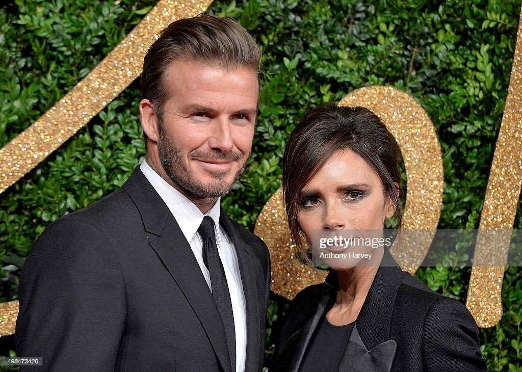 David Beckham and Victoria Beckham attend the British Fashion Awards 2015 at London Coliseum on November 23 2015 in London England