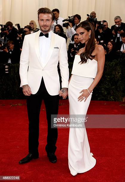 David Beckham and Victoria Beckham attend the 'Charles James Beyond Fashion' Costume Institute Gala at the Metropolitan Museum of Art on May 5 2014...