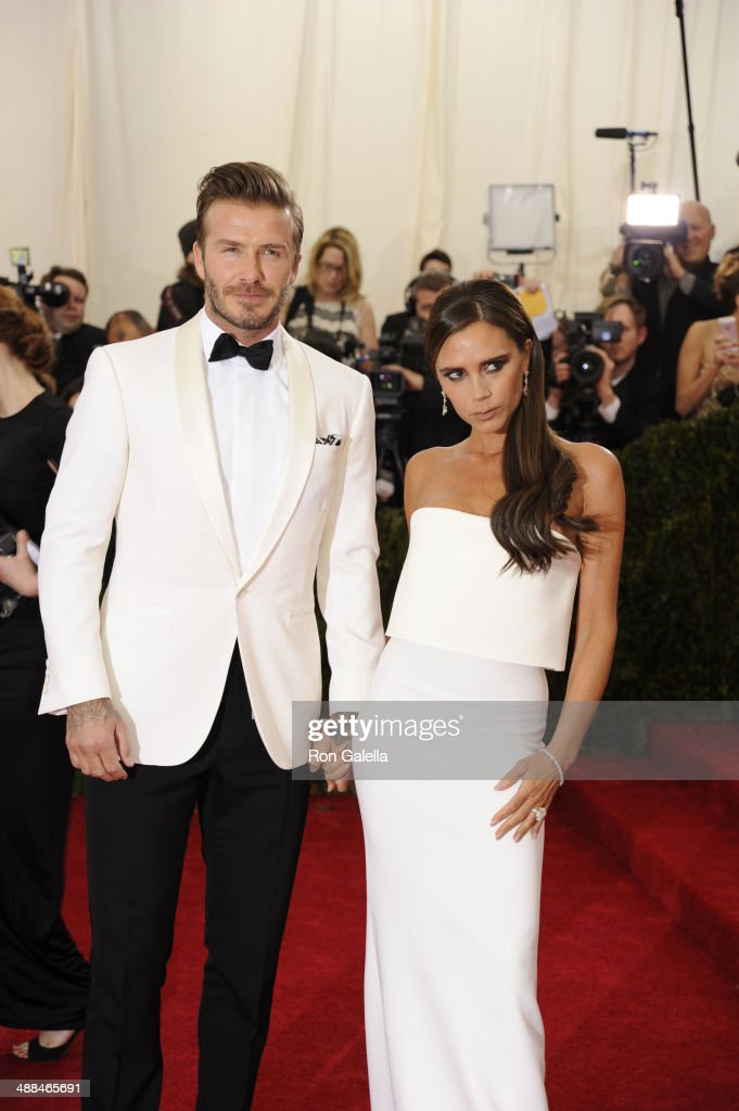 David Beckham and Victoria Beckham attend the 'Charles James: Beyond Fashion' Costume Institute Gala at the Metropolitan Museum of Art on May 5, 2014 in New York City.