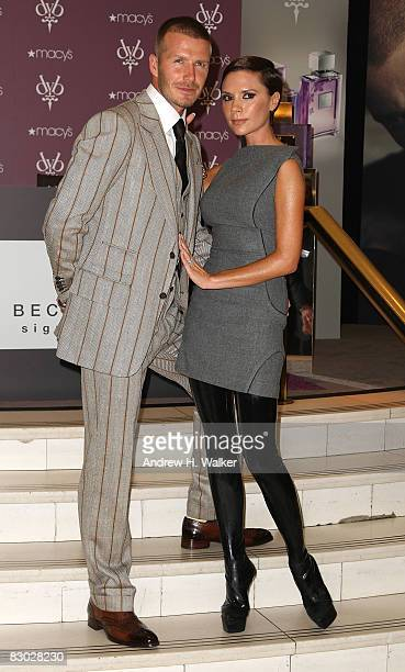 David Beckham and Victoria Beckham attend the launch of the Beckham Signature fragrance collection at Macy's at Herald Square on September 26 2008 in...